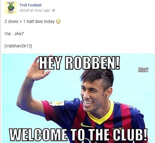 """""""Dois mergulhos e meio já"""". Internautas comparam quedas de Robben com as de Neymar, que diz em montagem """"Robben, bem-vindo ao clube"""""""