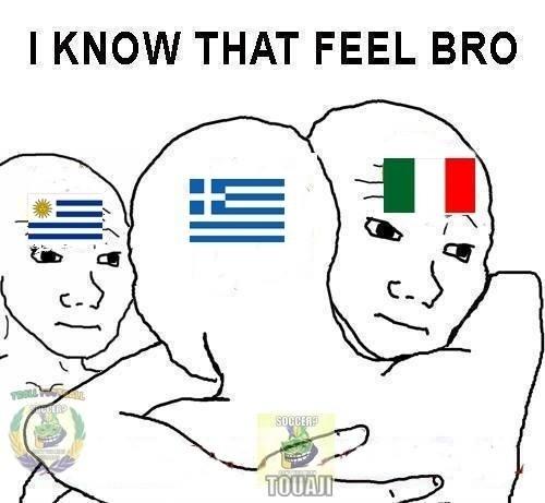 """""""Eu conheço o sentimento, amigo"""". Itália e Uruguai consolam a nova vítima da Costa Rica"""