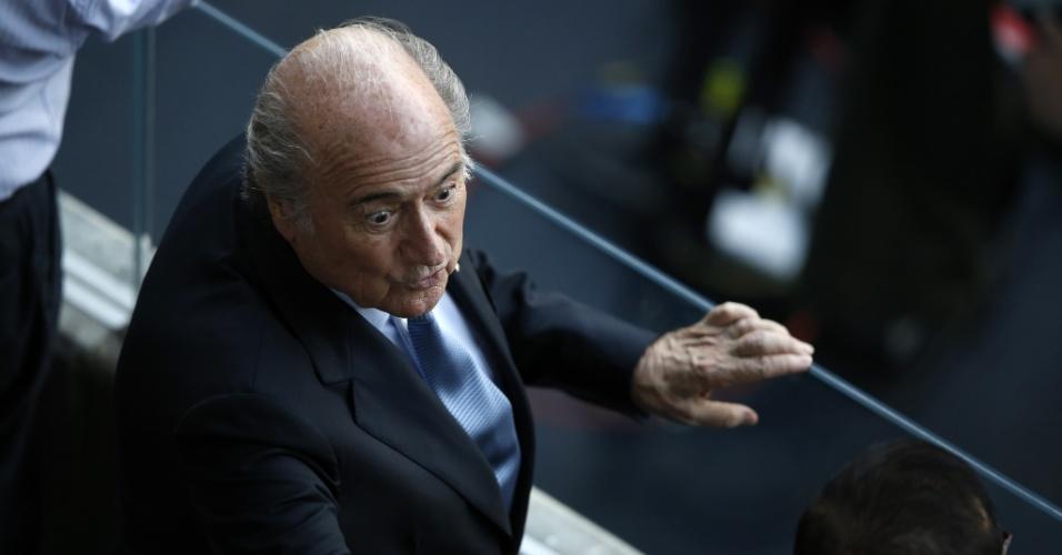 Joseph Blatter, presidente da Fifa, marca presença na Arena Pernambuco para assistir a partida entre Costa Rica e Grécia