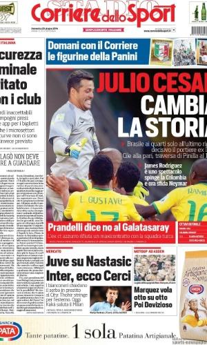 """""""Júlio Cesar muda a história"""", destacou o Corriere dello Sport"""