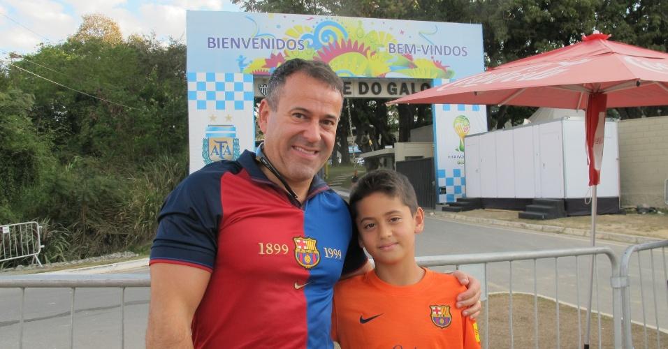 Leônidas Júnior levou seu filho Luan para tentar conhecer Messi e a seleção argentina em BH