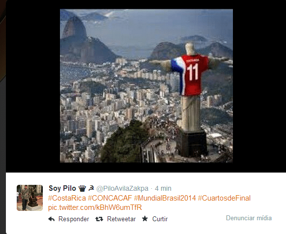 Nas montagens dos internautas, até a estátua do Cristo Redentor estava torcendo pra Costa Rica