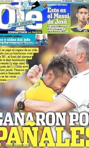 """O Olé!, da Argentina, fez um trocadilho com a palavra """"pênaltis"""", transformando em """"fraldas"""" para o time brasileiro após a real chance de eliminação"""