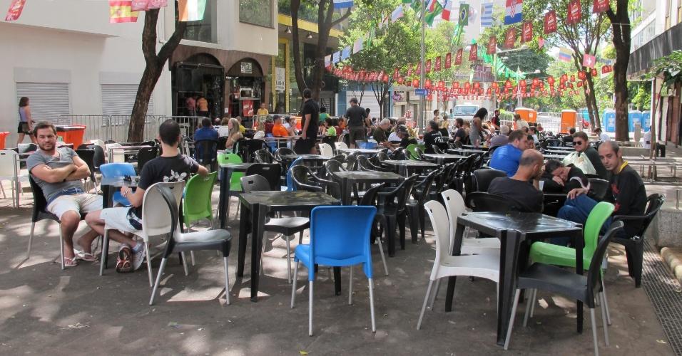 Região da Savassi, em Belo Horizonte, vazia m dia após Brasil e Chile