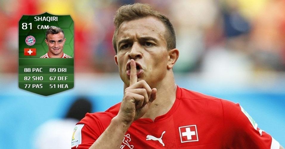 Suíça 3 x 0 Honduras: Xherdan Shaqiri (80 para 81)