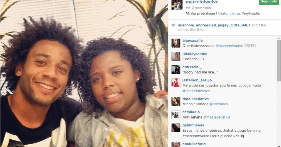 18.jun.2014 - De folga após o empate contra o México, o lateral Marcelo paparicou a irmã mais nova Júlia