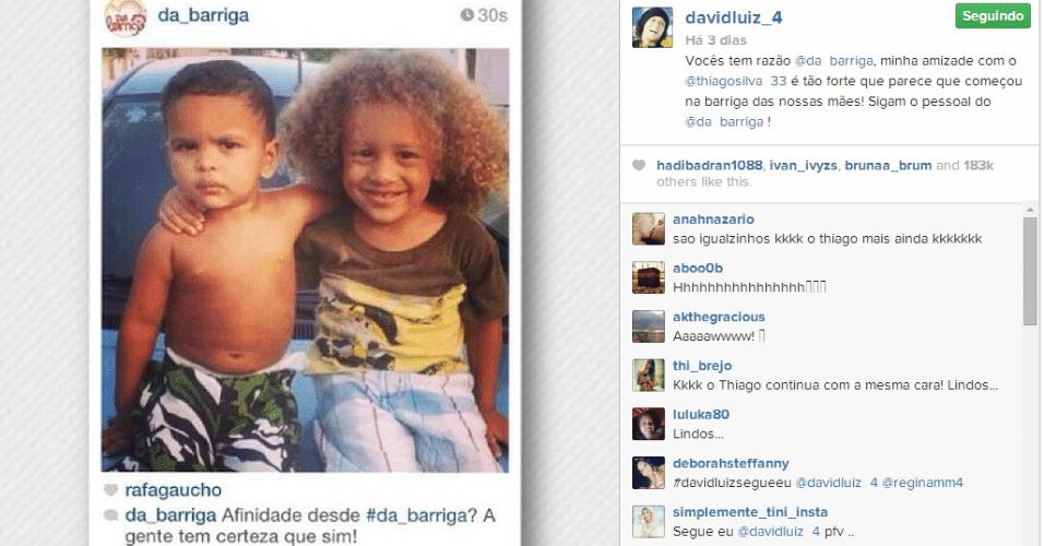 """27.jun.2014 - A famosa foto com os """"minis Thiago Silva e David Luiz"""" foi relembrada pelo zagueiro em seu Instagram"""