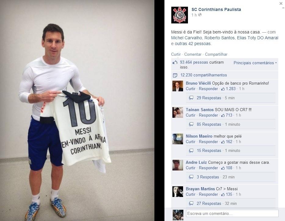 """Apósde treino da Argentina no Itaquerão, Lionel Messi ganhou uma camisa do Corinthians: """"Messi é da fiel. Bem-vindo a nossa casa"""", diz a legenda da foto do argentino postada pelo clube"""