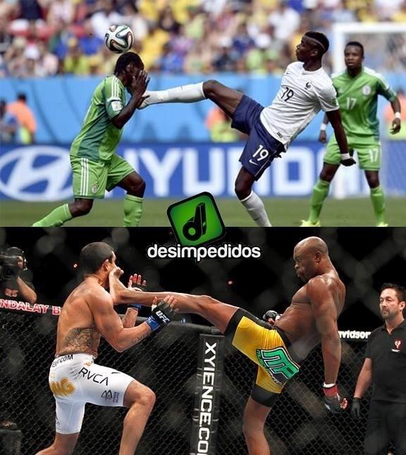 Lance do jogo entre Nigéria e França é comparado ao golpe de Anderson Silva