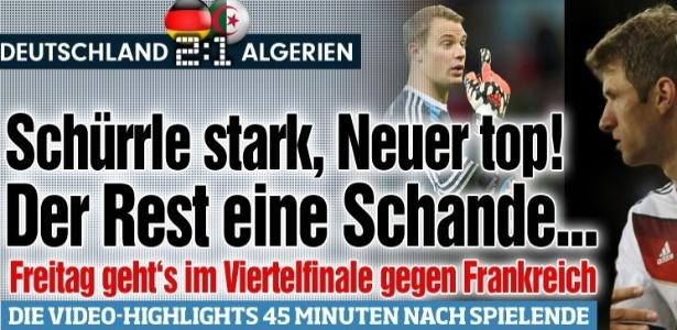 """Bild falou em """"vergonha"""" depois do sufoco da Alemanha diante da surpreendente Argélia"""