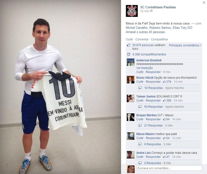 Messi recebe camisa personalizada do Corinthians