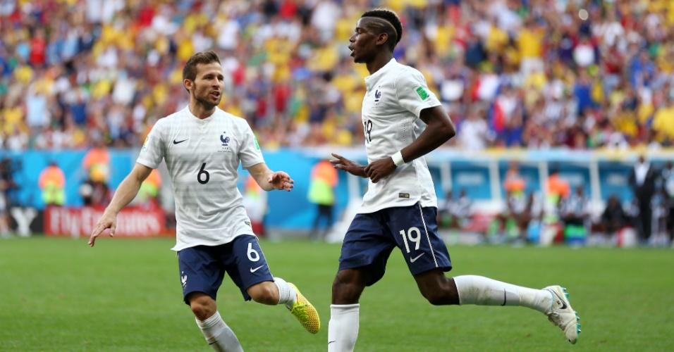 30.jun.2014 - Pogba comemora após colocar a França na frente do placar contra a Nigéria, no Mané Garrincha