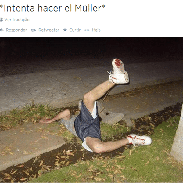 Tombo de Muller na falta ensaiada acabou virando meme