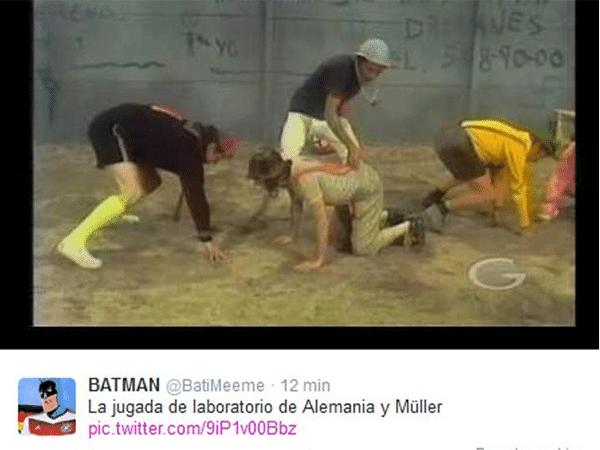Tombo de Muller na falta ensaiada acabou virando meme e foi comparado a cena do seriado Chaves