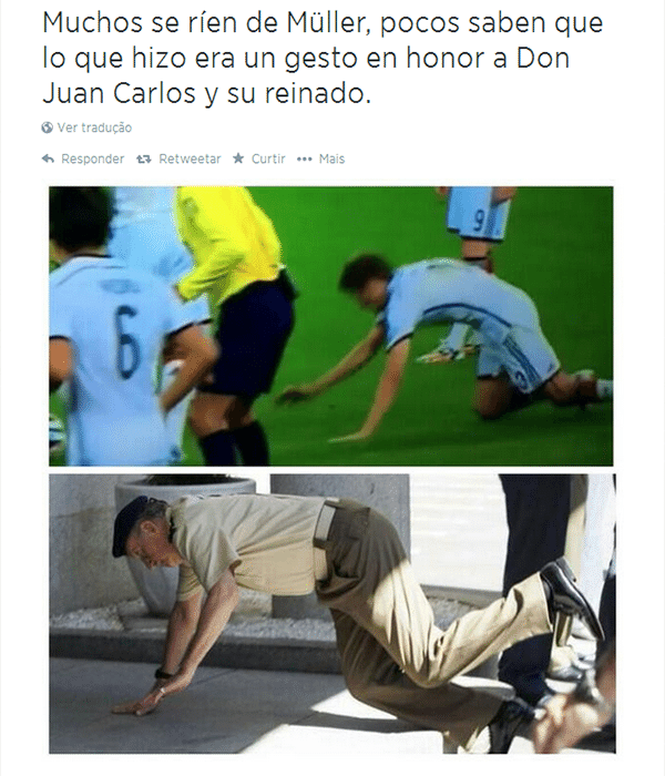 Tombo de Muller na falta ensaiada acabou virando meme e foi comparado ao do rei Juan Carlos da Espanha