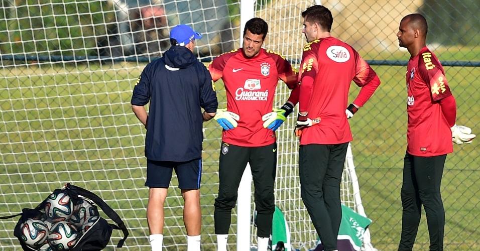 Treino na Granja Comary contou com os goleiros Jéfferson, Victor e Júlio César (da esq. para a dir.) e os jogadores que não começaram a partida contra o Chile