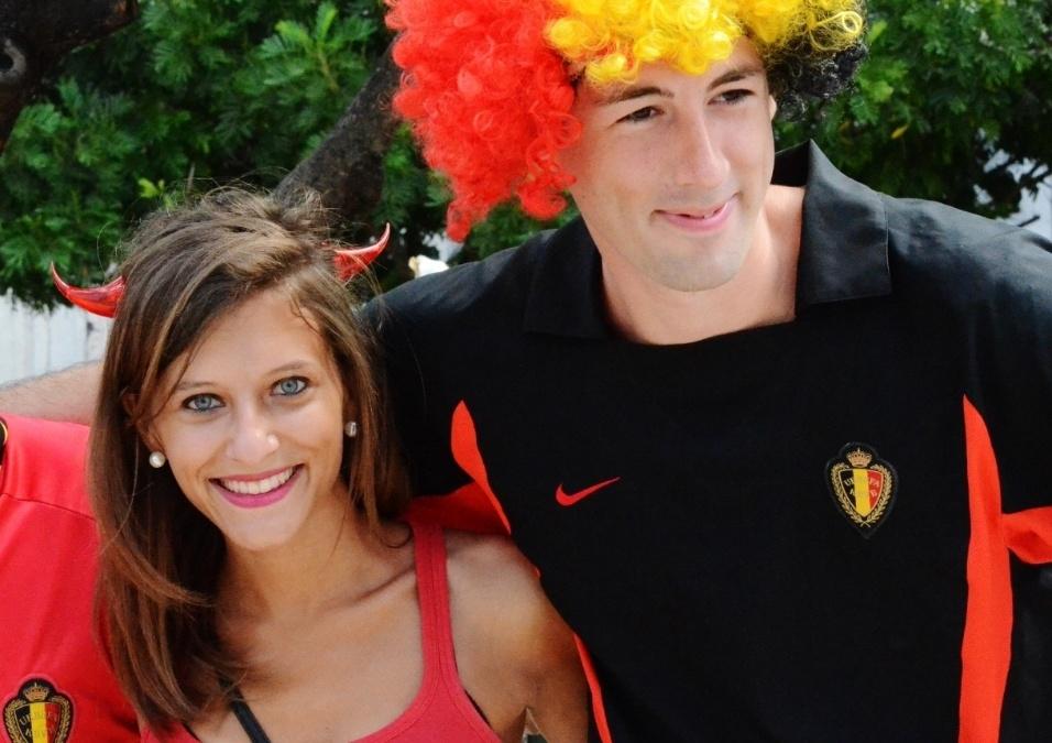 01.jul.2014 -  Bela torcedora da Bélgica visita centro histórico de Salvador antes de duelo contra os EUA, na Fonte Nova