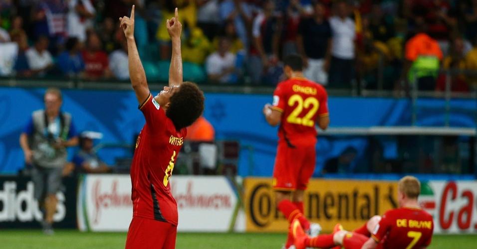 01.jul.2014 - Jogadores da Bélgica comemoram após a equipe bater os Estados Unidos e garantir vaga nas quartas da Copa