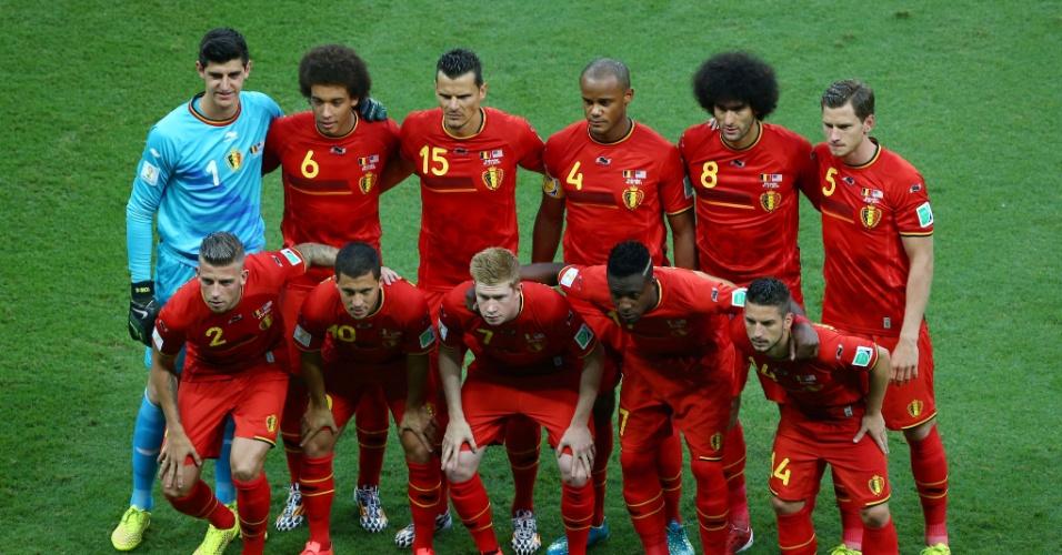 01.jul.2014 - Jogadores da Bélgica posam para foto antes de partida contra os Estados Unidos