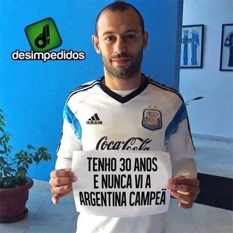 """Mascherano nunca viu a Argentina ser campeã: """"joga pra mim!"""""""