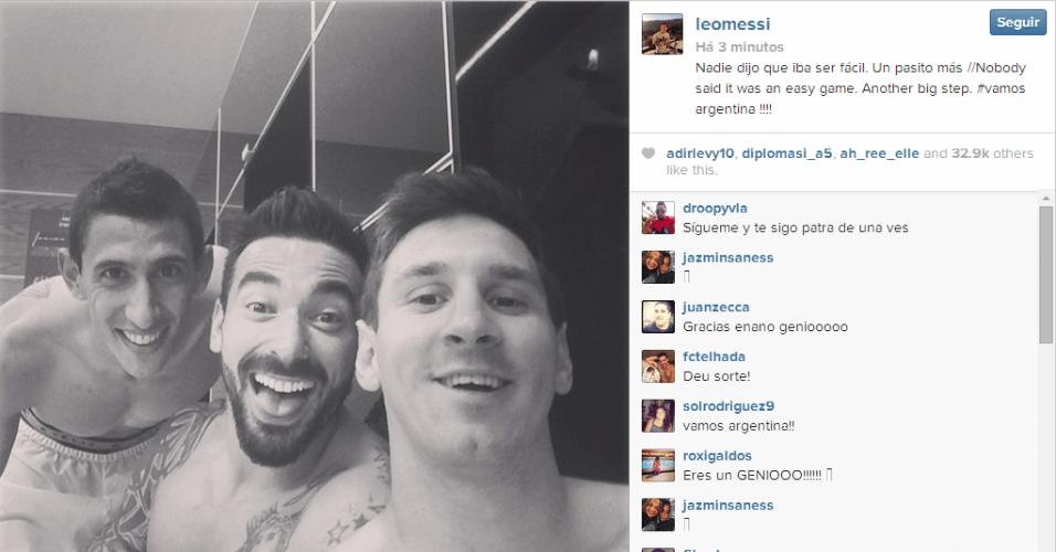 Messi comemora vitória sobre a Suíça ao lado de Di Maria e Lavezzi