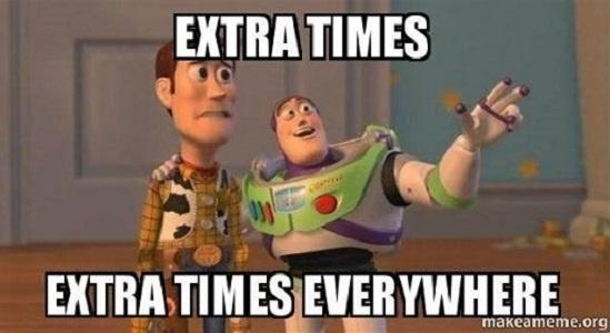 """""""Prorrogações. Prorrogações em todos os lugares"""". Internautas usam até a turma de Toy Story para comentar o excesso de prorrogações nas oitavas de final"""