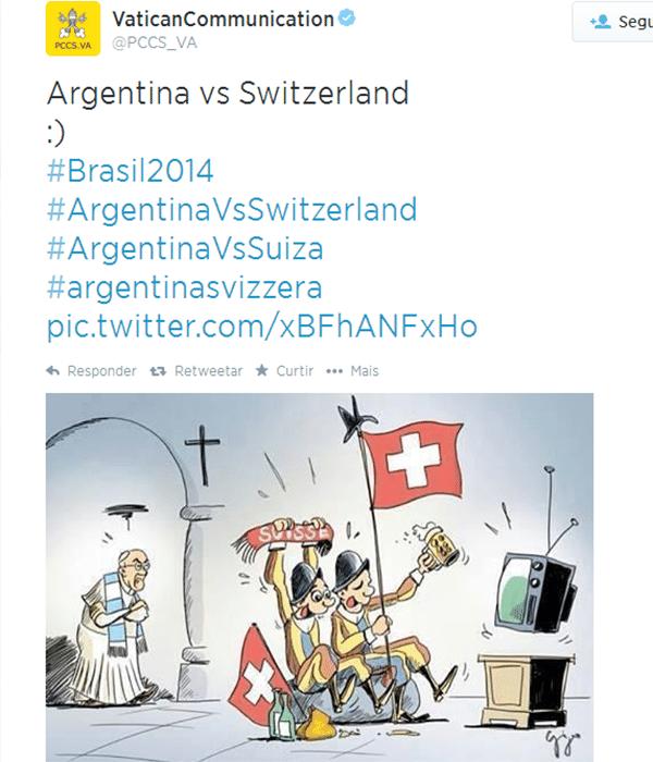 Twitter oficial do Vaticano postou charge sobre a torcida da Guarda Suíça contra a do Papa argentino