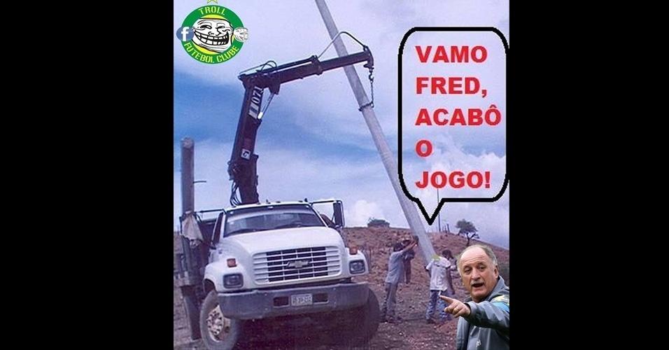 Após o jogo, Felipão tem certo trabalho para tirar Fred de campo