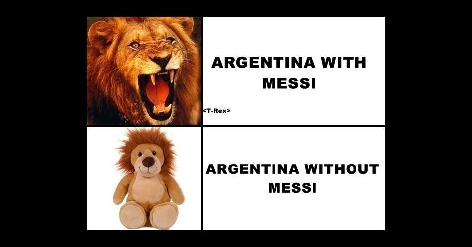 """""""Argentina com Messi. Argentina sem Messi."""" Dependência do camisa 10 foi zoada na web"""
