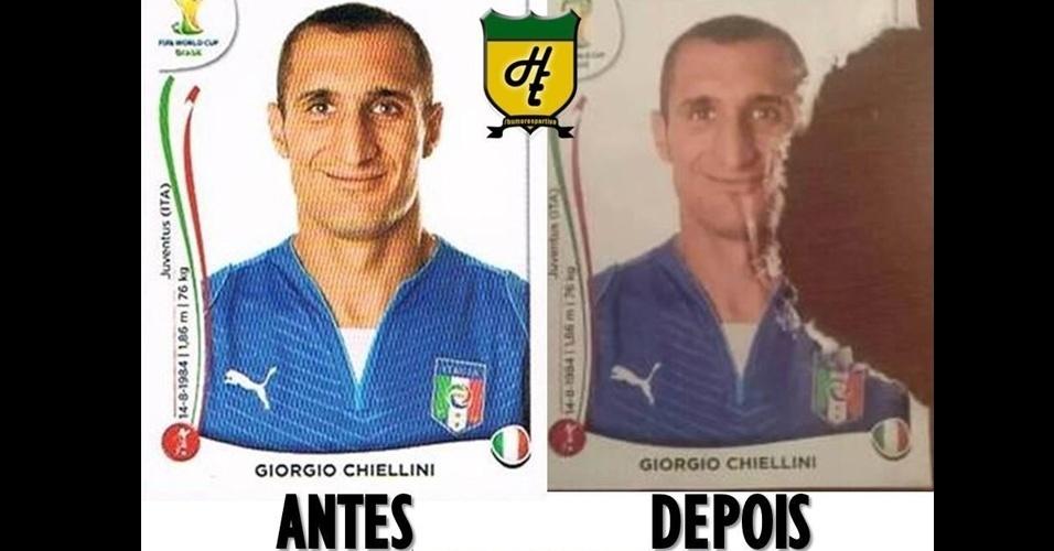 Figurinha de Chiellini sofreu uma alteração após lance do zagueiro italiano com Luis Suárez