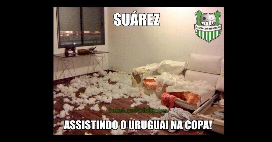 Mordida de Suárez fez internautas zoarem o jogador até depois da eliminação uruguaia da Copa