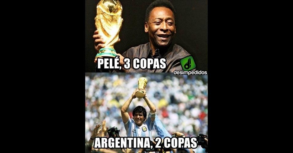 Na quantidade de títulos, Pelé leva melhor sobre todas a Argentina