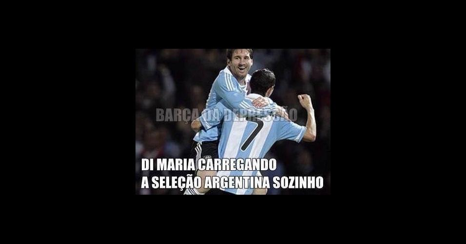 Nas montagens, Messi é apontado como o 'dono do time'
