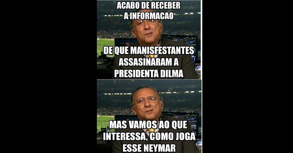 Para internautas, Galvão Bueno tem prioridades inusitadas