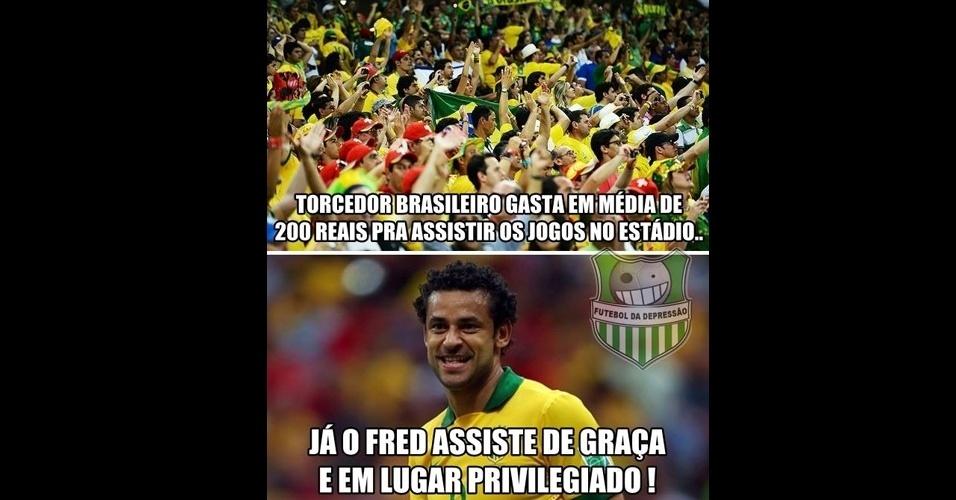 Perto do gol, Fred tem visão privilegiada dos jogos do Brasil