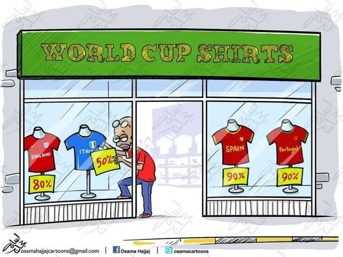 Promoção de camisas das eliminados da Copa