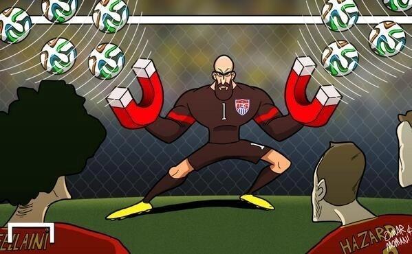 Tem goleiro que chama gol. Howard atrai a bola
