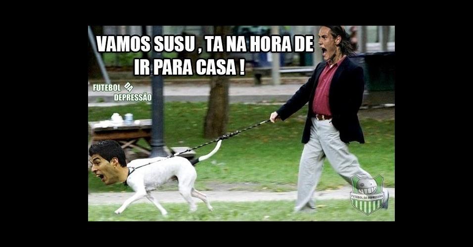 Transformado em cachorro, Suárez dá uma voltinha com Cavani
