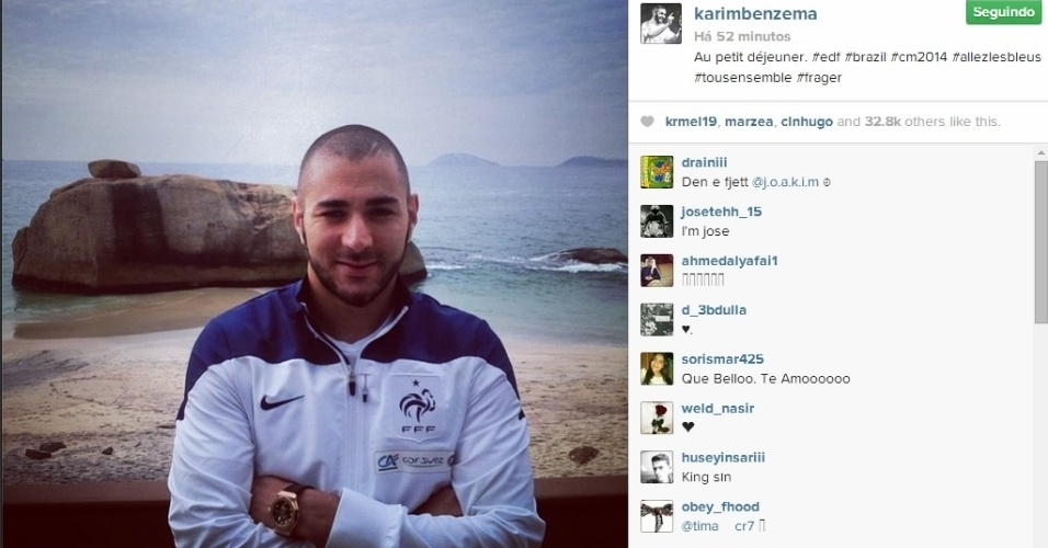 3. jul. 2014 - Benzema curte paisagem do Rio de Janeiro. França vai enfrentar a Alemanha, nesta sexta-feira, no Maracanã