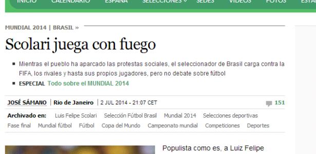 El País publicou artigo criticando postura de Felipão durante a Copa do Mundo