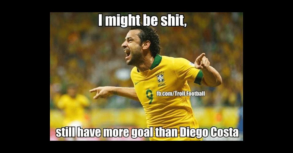 """""""Eu posso ser ruim, mas tenho mais gols que o Diego Costa"""". Internautas zoam Fred, mas reconhecem que ele está brilhando mais do que atacante espanhol nesta Copa"""