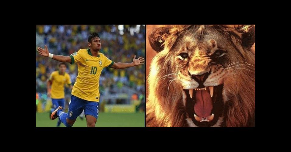 Neymar é comparado a leão quando joga com a camisa do Brasil