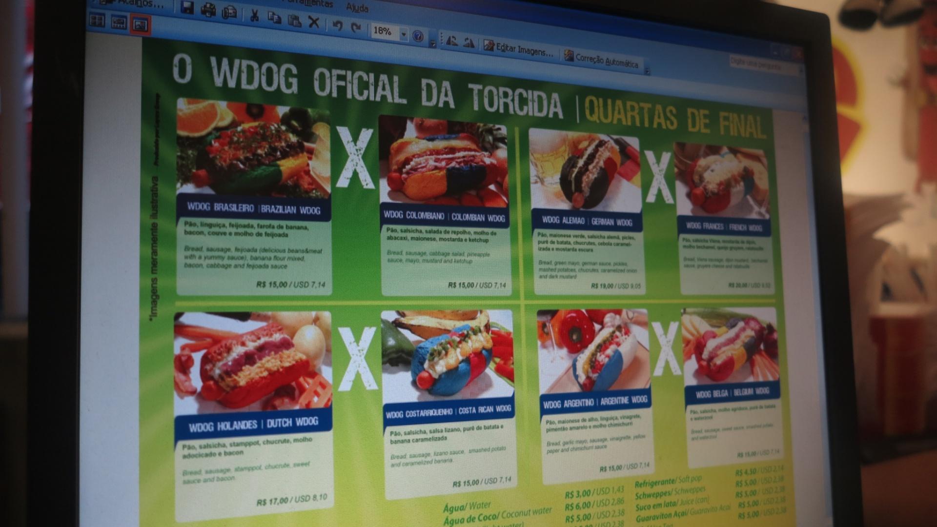 Quiosque WDog, no metrô Itaquera, aposta na onda dos hot-dogs temáticos e faz cardápio especial para as quartas de final da Copa do Mundo.