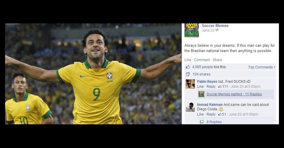 """""""Sempre acredite nos seus sonhos. Se este homem pode jogar no Brasil, você pode fazer qualquer coisa"""". Internautas não se conformam como Fred é o camisa 9 da seleção"""