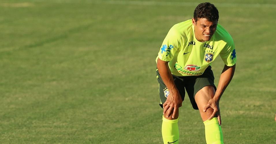 Thiago Silva participa de treinamento na véspera da partida de quartas de final da Copa, contra a Colômbia. O jogo será no Castelão