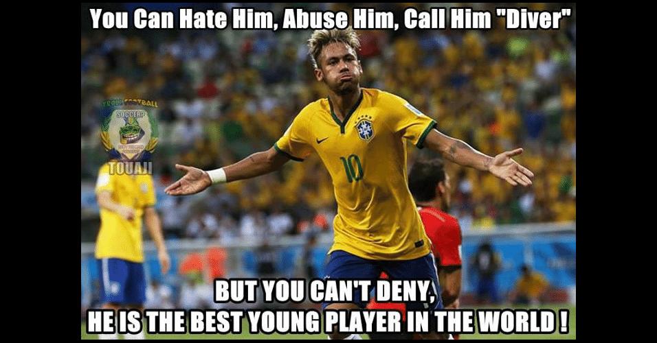 """""""Você pode odiá-lo, zoá-lo e até chamá-lo de cai cai, mas não pode negar que ele é o melhor jogador jovem do mundo"""". Torcedores reconhecem talento do camisa 10 do Brasil"""