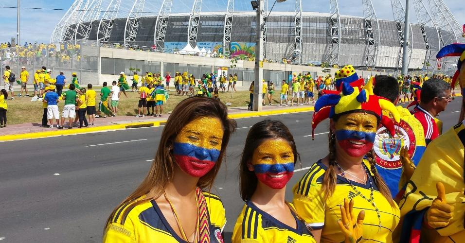 04.07.2014 - Torcedores da Colômbia chegam ao estádio Castelão para o jogo das quartas de final