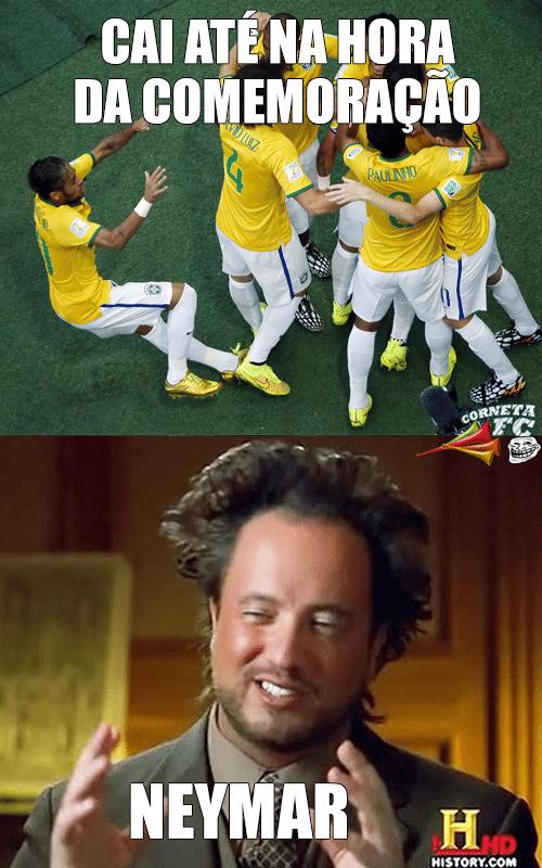 Aquele momento em que você percebe que o Neymar cai até na comemoração do gol