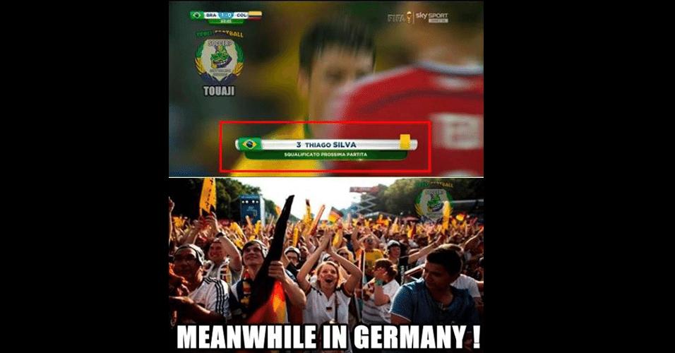 """""""Enquanto isso na Alemanha..."""". Torcida alemã estaria comemorando ausência de Thiago Silva na semifinal"""