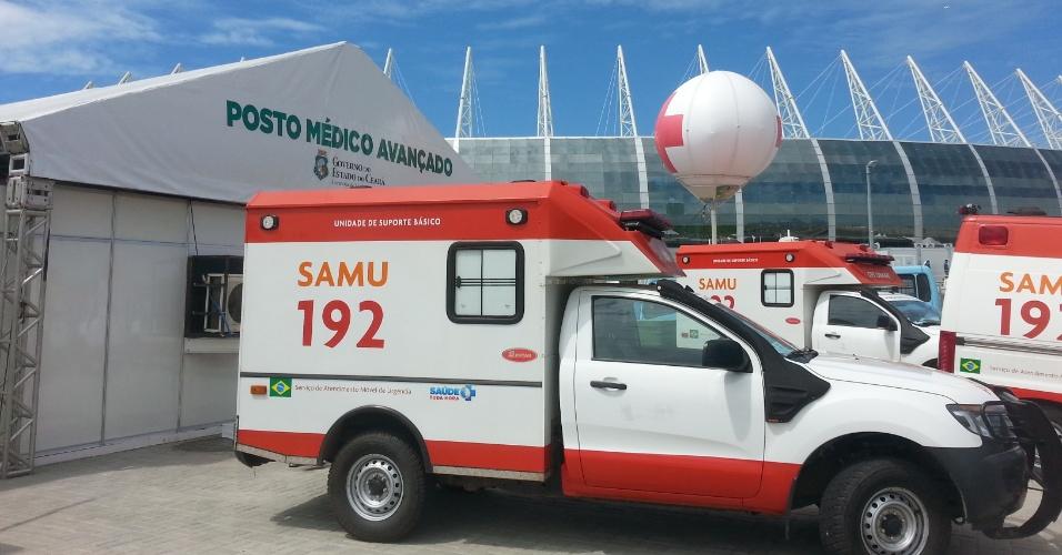 Imagem externa do PMA, com o Castelão ao fundo. Maior parte dos atendimentos é em decorrência do calor em Fortaleza